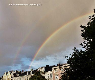 rainbow over lehmweg herbst in hamburg